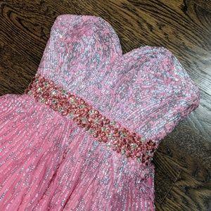 Sherri Hill Pink Sequin Prom Dress Size 0